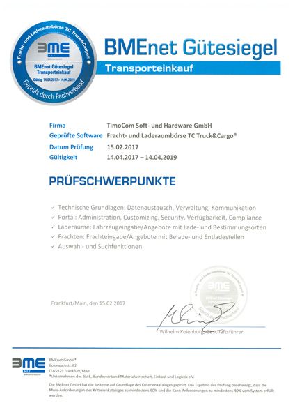 The transport platform receives the seal of approval from BMEnet GmbH