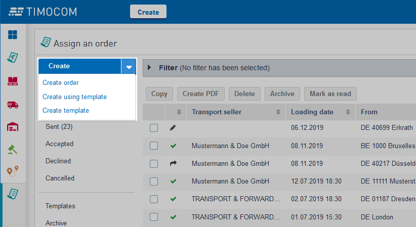 Transport orders application options for assigning an order