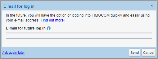 Save TIMOCOM web login e-mail address