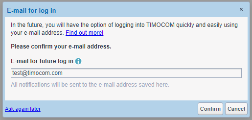 TIMOCOM web login save e-mail address already in system