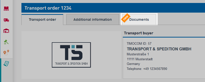 Transport orders smart app new tab documents in order